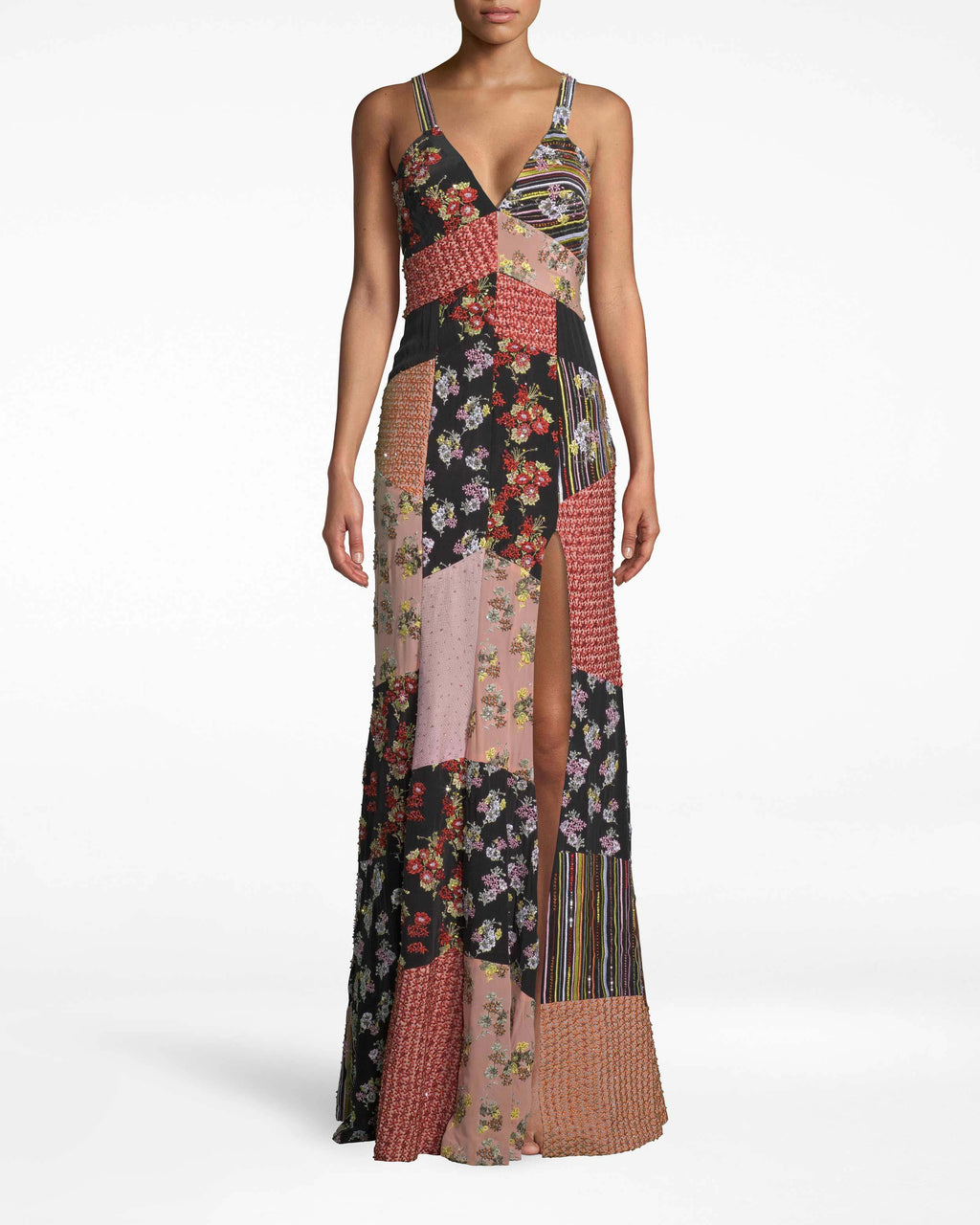 FJ10038 - PROVENCE FLORAL EMBELLISHED PATCHWORK GOWN - dresses - long - ALMOST EVERY INCH OF THIS FLOOR LENGTH GOWN IS INTRICATELY EMBROIDERED WITH SEQUINS, BEADS AND RHINESTONES. THIS RUNWAY STYLE FEATURES SPAGHETTI STRAPS, A PLUNGING NECKLINE AND SIDE SLIT. PAIR WITH MINIMAL ACCESSORIES. FULLY LINED AND BACK ZIPPER FOR CLOSURE.