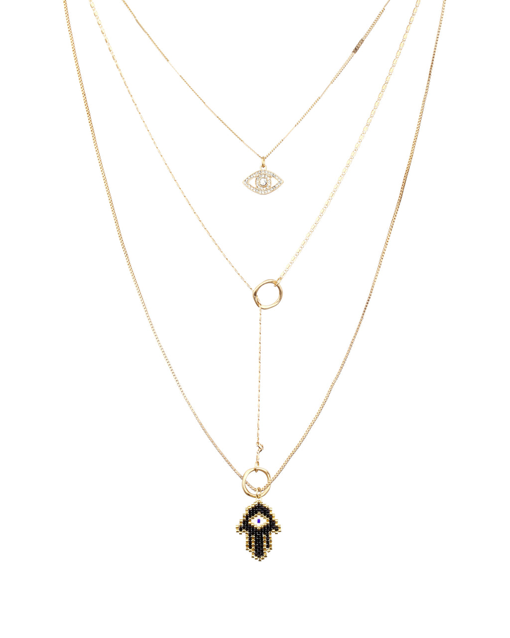 FJ15261 - MULTI LAYERED HAMSA NECKLACE - accessories - jewelry - This perfectly layered piece has 3 different chains and features a jeweled evil eye and beaded hamsa hand. The second and third chain link with a cool circle charm that ties the whole thing together.