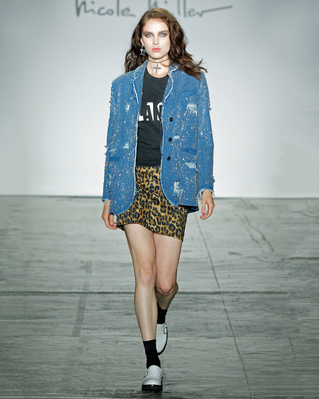 GH10012 - SHREDDED DENIM BOYFRIEND JACKET - outerwear - jackets - Straight off the runway, this shredded denim boyfriend jacket is the coolest denim jacket of the season. It features hand stitched crystal clear embellishments. Wear with a t-shirt and skinny jeans or over a little black dress.