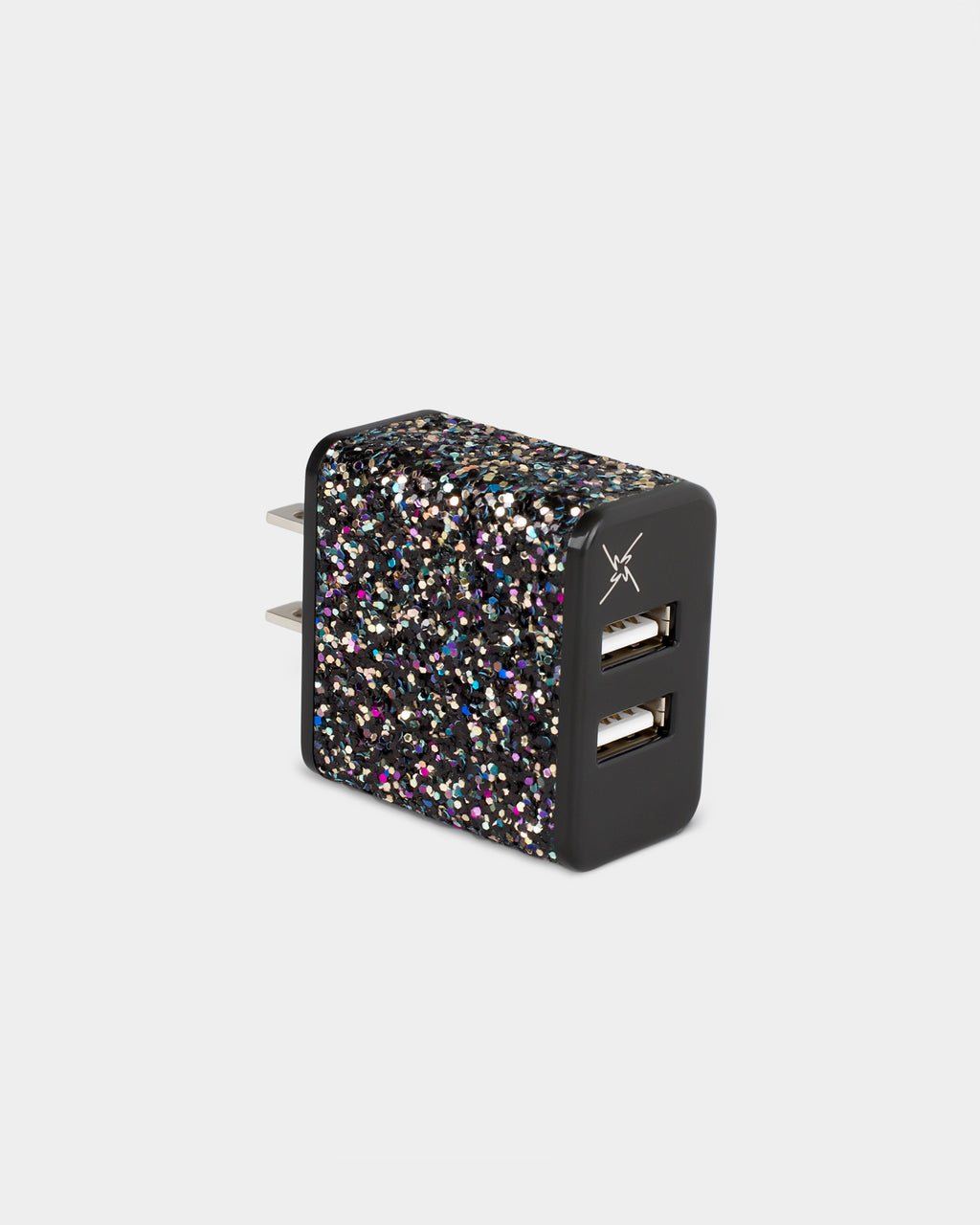 GWCGB01 - glitter wall charger - accessories - fashion tech - this glitter wall charger features two usb slots. charge two devices at once.