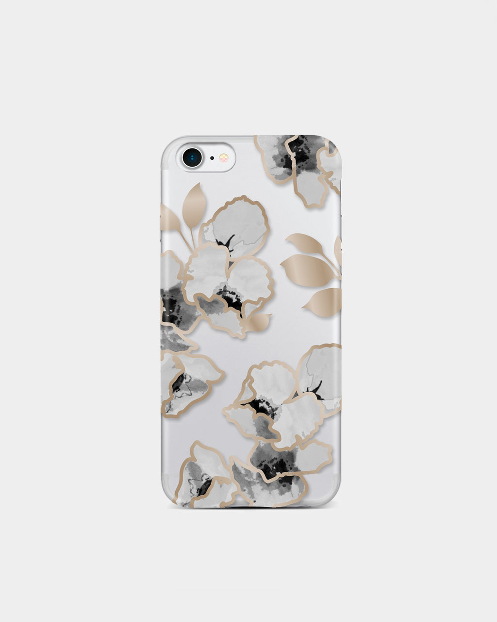 IC7093 - BOTANICAL iPHONE 7 PLUS CASE - accessories - fashion tech - Clear iphone 7 case with black, white and gold floral print.