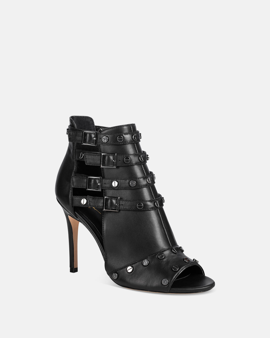 JOCELIN - JOCELIN LEATHER STILETTO - shoes - shoes - Accented with metal hardware and buckles at the ankle, this heel is an edgy update to the classic black heel.