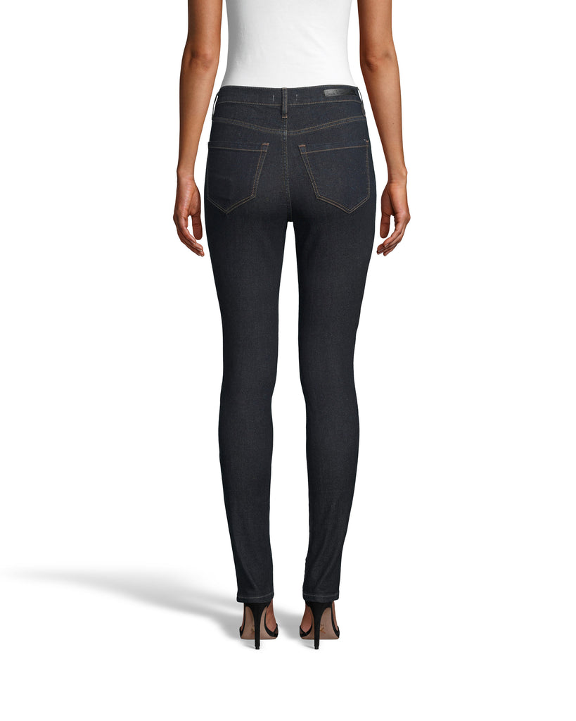 LP18225 - LUREX DENIM JEAN - bottoms - denim - Not boring blue jeans. This classic skinny silhouette features lurex fabric throughout for a subtle, shimmery effect. Super soft denim makes this pair a closet essential. Add 1 line break Stylist Tip: Pair with one of our silk blouses for a perfect date night look. Alternate View
