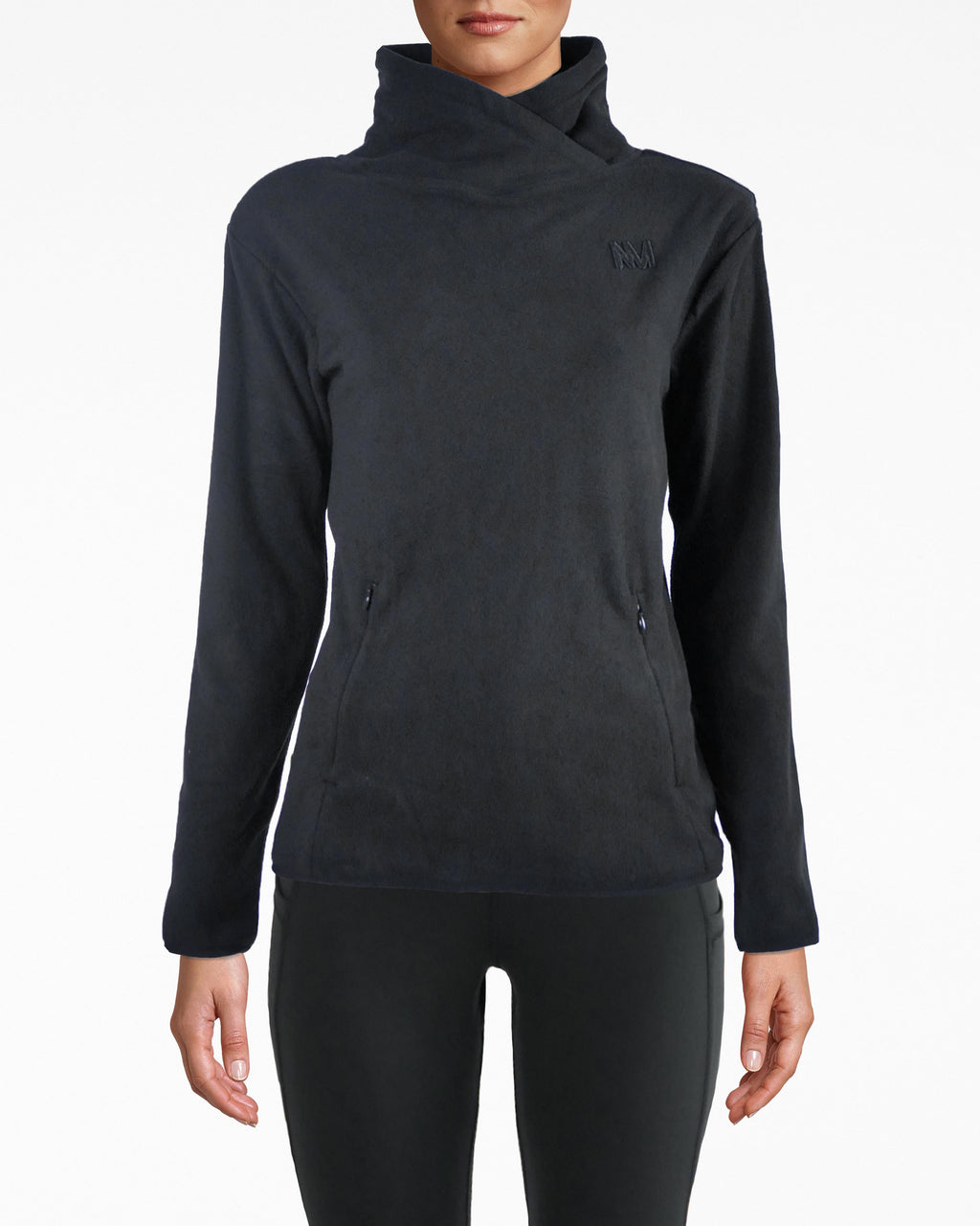 N8ZP008 - Fleece Pop Over - activewear - activewear tops - Keep it cozy. Our NM logo is subtly featured on the breast and back of this fleece wrapped pop over jacket. The fit is super comfortable and falls below the waist. Two pockets with exposed zippers for closure.