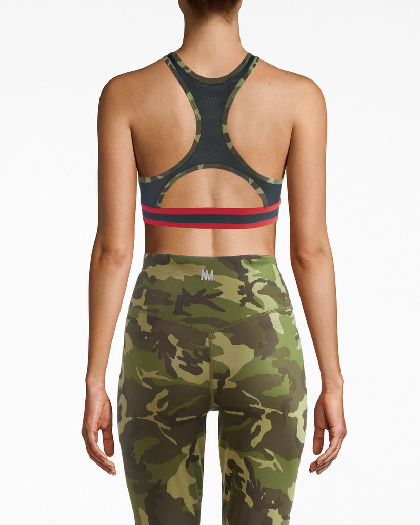 N8ZQ004 - Mesh Back Sports Bra - activewear - activewear tops - Work out duty. The racerback on this padded sports bra features mesh, with camouflage lining. The Nicole Miller logo circles around the black and red under band. The stretchy fabric helps you feel comfortable and protected. Alternate View