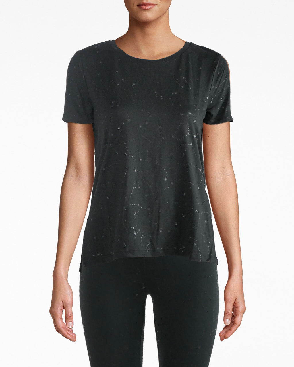 N8ZT007 - High Low Tee - activewear - activewear tops - Hello, high low. This star-studded sport tee is comfort intertwined with cool. It has a wide round neck and simple shirt sleeves. The fabric has a barely-there, breathable feel. Pair back with NM leggings.