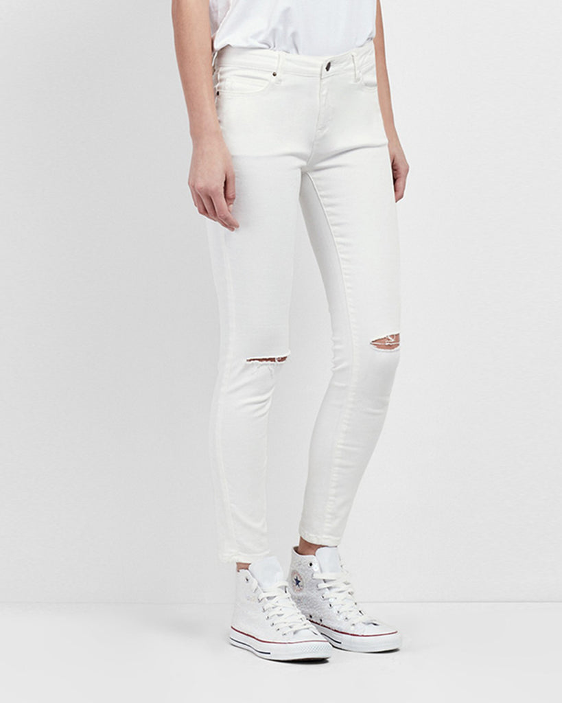 NJ0130 - WHITE SLASHED JEANS - bottoms - denim - These Mid Rise jeans are finished with slashed de tail at the knees. Alternate View