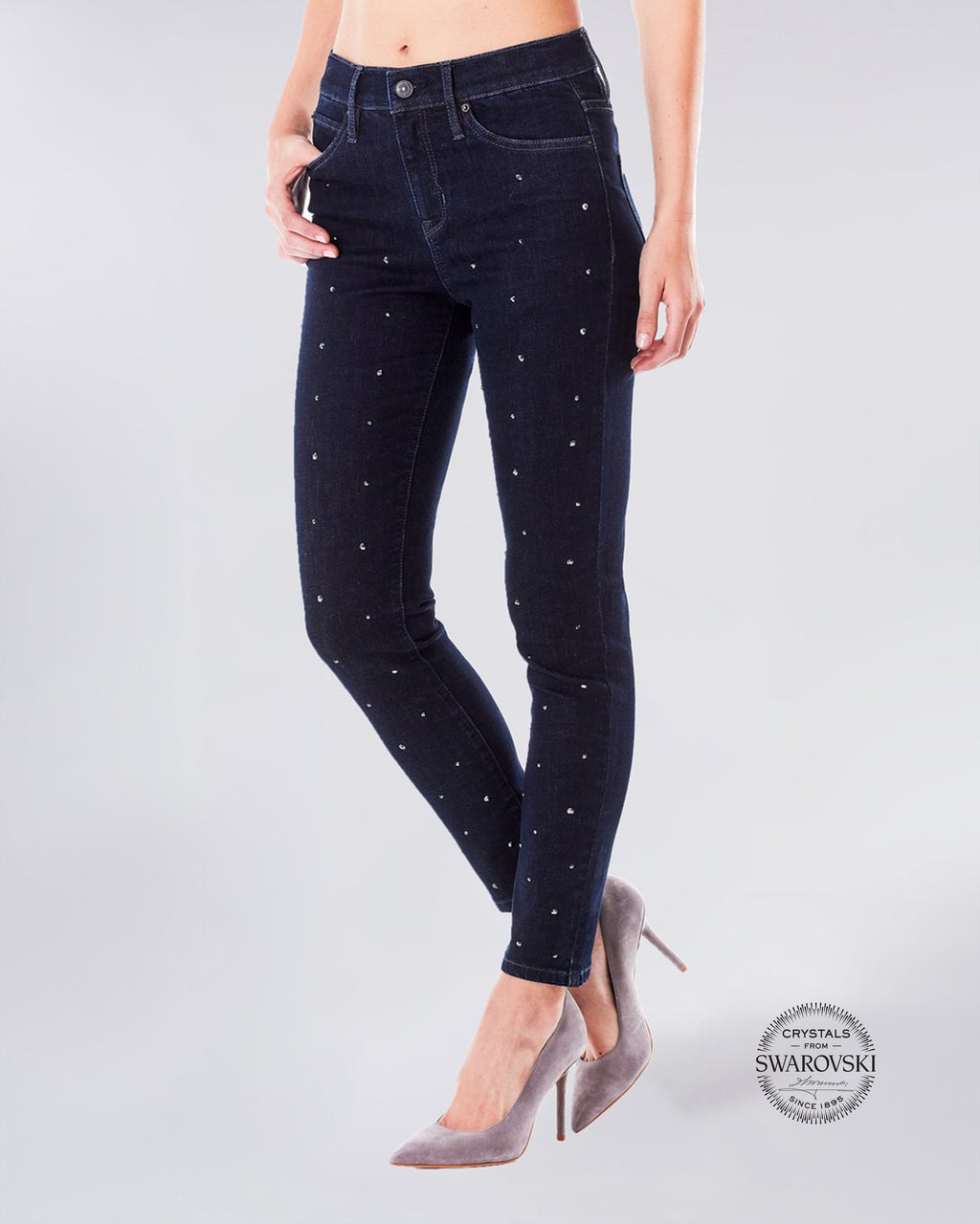 NJ0299S - SWAROVSKI CYRSTAL SOHO HIGH RISE SKINNY - bottoms - denim - An update to the classic high rise skinny jean, this Swarovski Crystal embellished pant will dress up any look. Complete with Lyrca Beauty.
