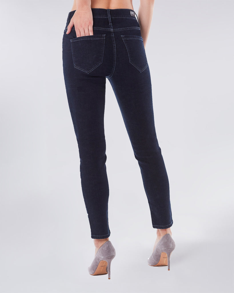 NJ0299S - SWAROVSKI CYRSTAL SOHO HIGH RISE SKINNY - bottoms - denim - An update to the classic high rise skinny jean, this Swarovski Crystal embellished pant will dress up any look. Complete with Lyrca Beauty. Alternate View