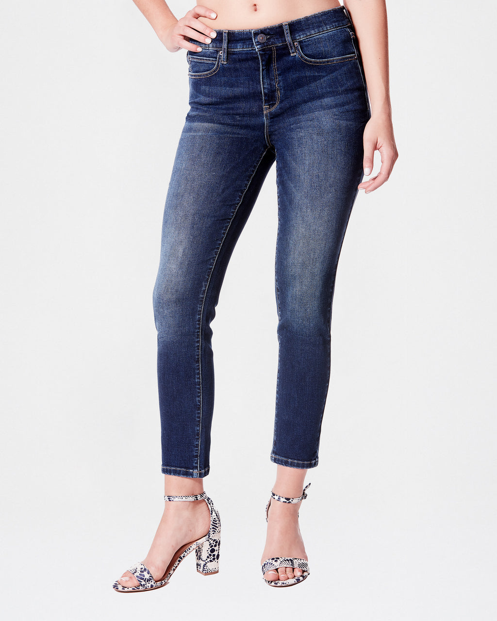 NJ04501 - High Rise Ankle Skinny Eco Jean - bottoms - denim - Our classic high rise skinny denim is now available in our eco-friendly fabric, t-400 which is partially made of recycled plastic and plant based materials. Still the same fit form-flattering fit.