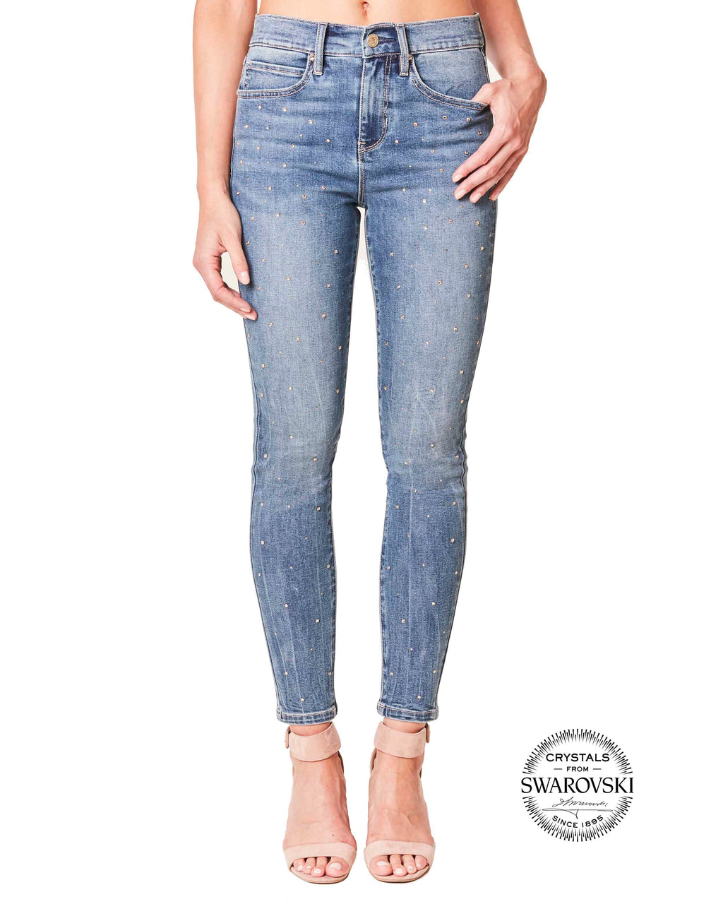 NJ0507S - Swarovski Soho Jeans - bottoms - denim - Stay classy. We teamed up with Swarovsk Registered Trademark symbol to give you these lightweight, light blue jeans. Eye-catching crystals dot across the front legs, elevating the classic style. The denim lightly fades. Style with a dressier top, or a simple t-shirt to let the crystals shine. Inseam: 26 3/4""