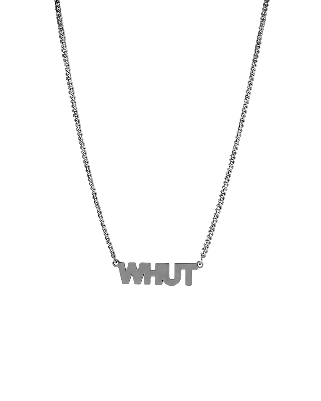 "NM01311 - WHUT cutout necklace - accessories - stationary - this ""whut"" necklace adds a little attitude to your outfit."