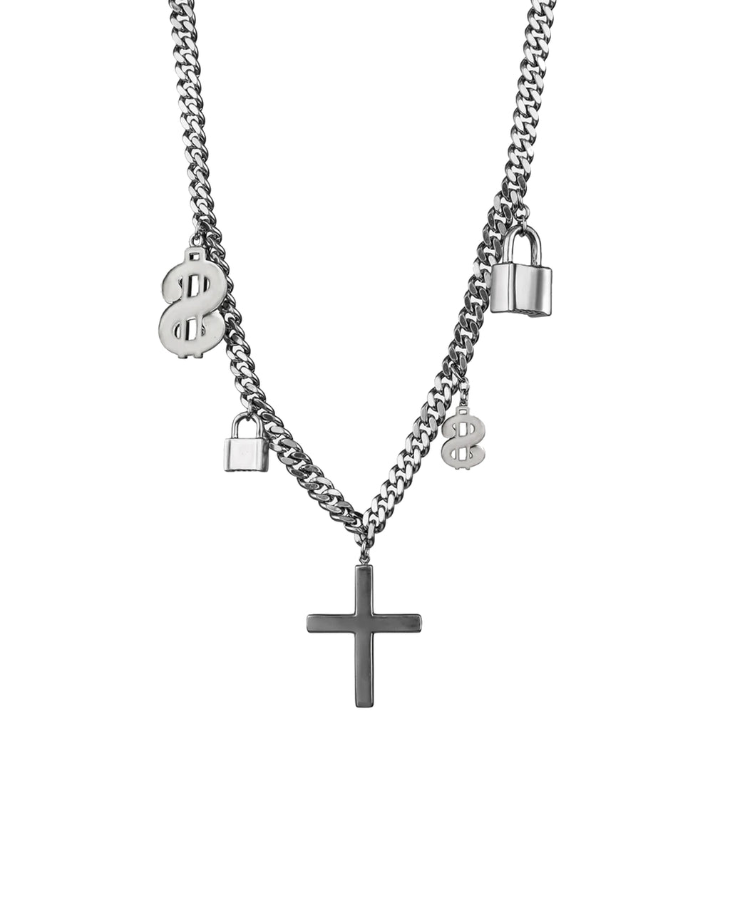 NM01531 - MIXED XL SYMBOL CHARM NECKLACE - outerwear - blazers - THIS HEAVY CHAIN NECKLACE FEATURES NICOLE'S FAVORITE CHARMS AND A CROSS.