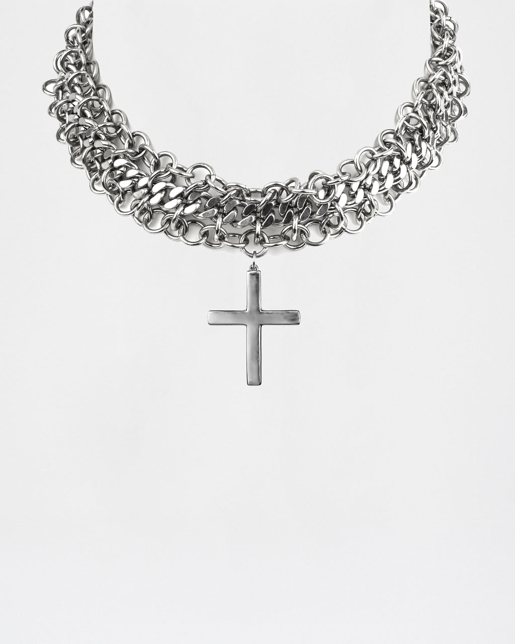 NM01561 - Cross Choker Necklace - accessories - jewelry - This chunky cross choker is a statement piece. It was also featured on the Fall 2019 runway show.