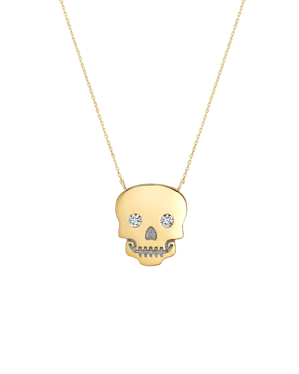 NM10007 - 14k Sparkle Eye Skull Necklace - accessories - fine jewelry - Hanging from an 18 inch chain is a 14-karat solid yellow gold skull, which is embellished with cubic zirconia for an extra touch. Perfect as a stand-alone piece or when layered.