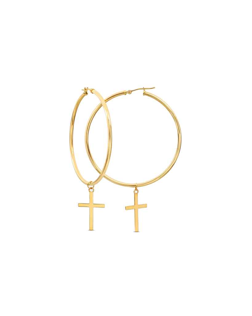 NME1003 - 14k Holy Cross Hoop Earrings - accessories - fine jewelry - These 14-karat yellow gold 50 mm round hoop earrings are accentuated with crosses. Alternate View