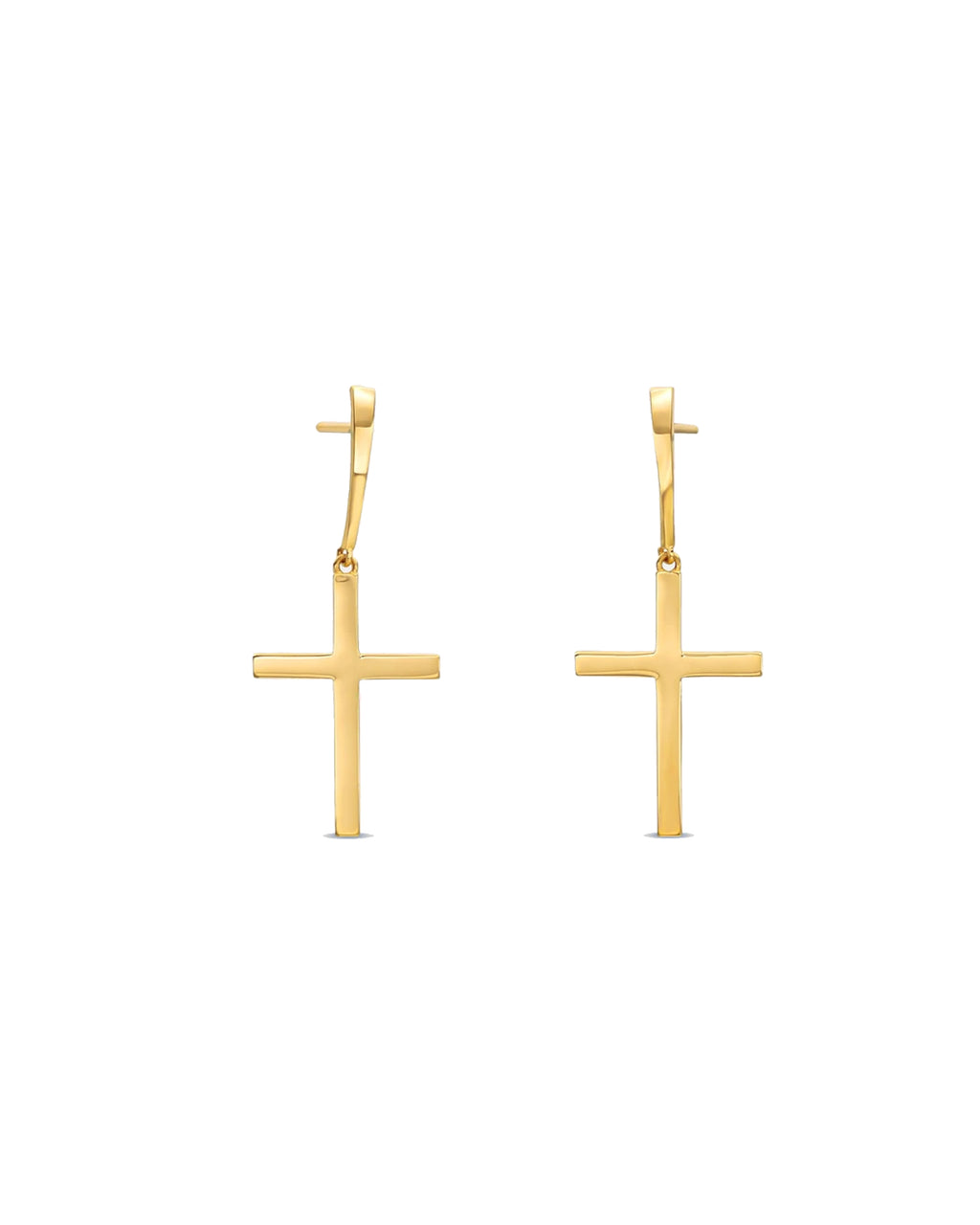 NME1004 - 14k Holy Cross Dangle Earrings - accessories - fine jewelry - These 14-karat solid yellow gold cross post earrings fit comfortably to the ears. Crosses measure to 50 mm.