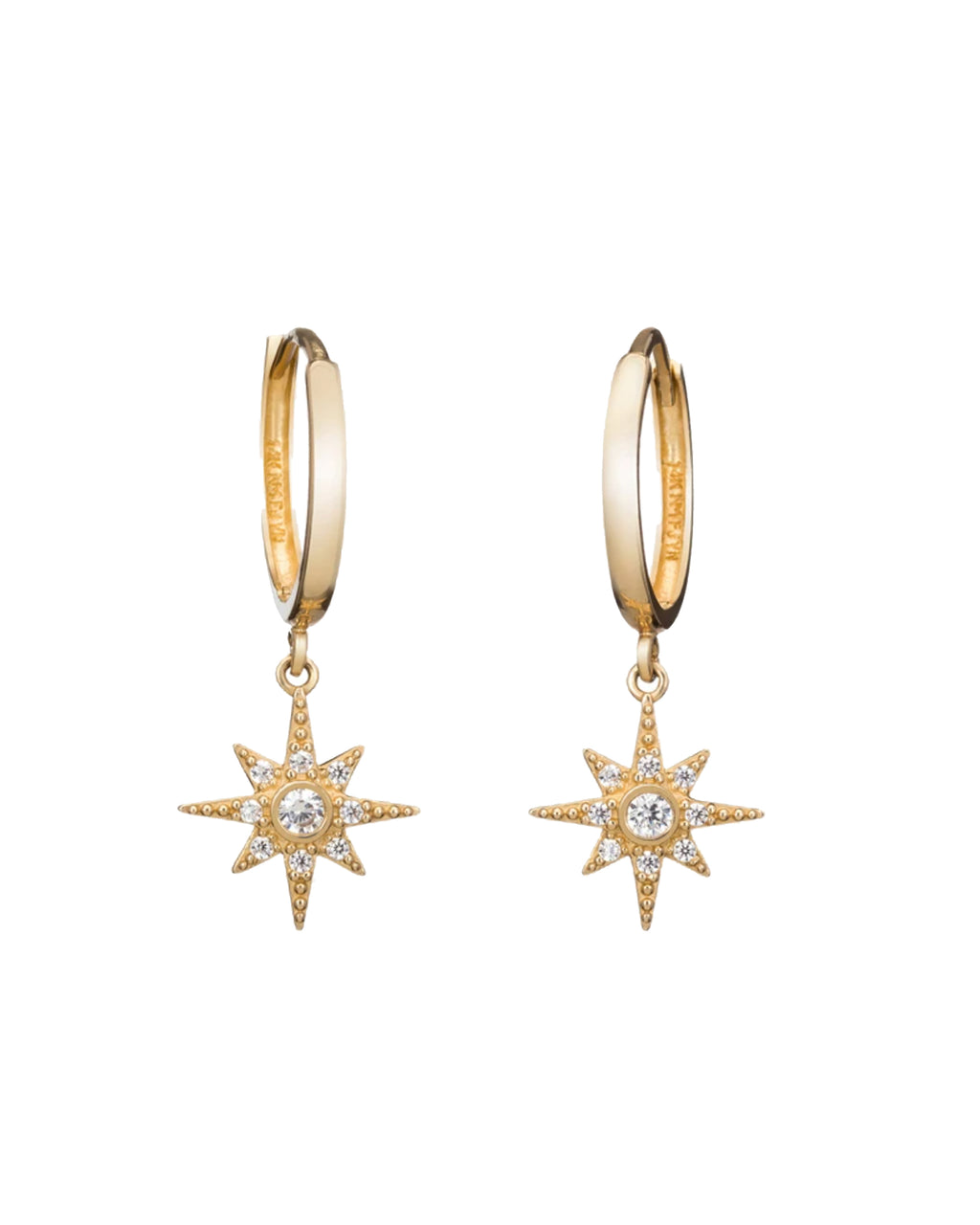 NME1010 - Mini Starburst Dangle Hoop - accessories - fine jewelry - UP YOUR EAR GAME WITH THESE MINI STAR DANGLE HOOPS. MADE FROM 14-KARAT GOLD AND CUBIC ZIRCONIA, THESE DAINTY HOOPS ARE AN EVERYDAY STYLE WITH EDGE.