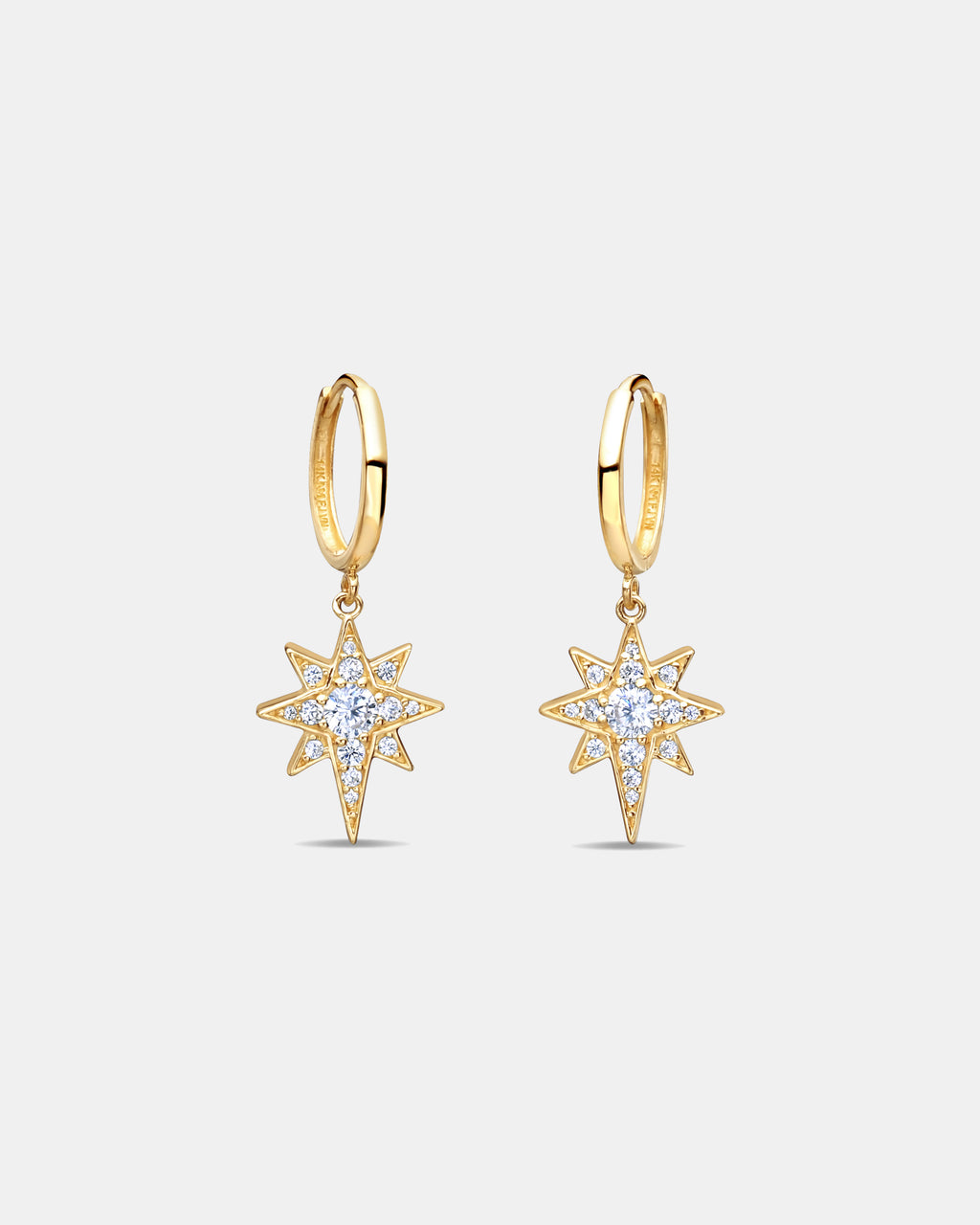 NME1011 - OBLONG STAR DANGLE HOOPS - accessories - jewelry - Up your ear game with these Oblong Star Dangle Hoops. Made from 14-karat gold and cubic zirconia, these dainty hoops are an everyday style with edge.
