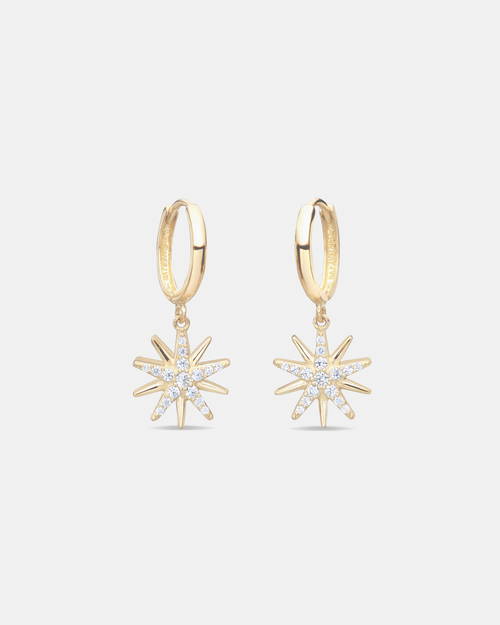 NME1012 - STARBURST DANGLE HOOPS - accessories - fine jewelry - Shine bright in our Starburst Dangle Hoops. Crafted from 14-karat gold with cubic zirconia detailing, these hoops will upgrade any outfit. Dress them up or down depending on the occasion.
