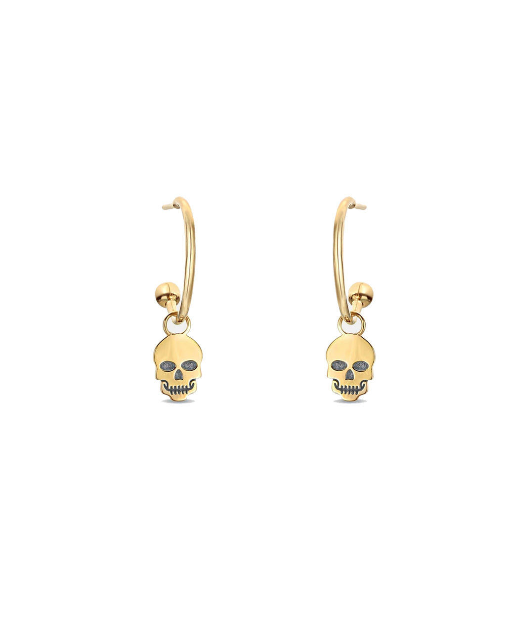 NME1015 - 14K SKULL C-HOOP EARRINGS - accessories - fine jewelry - These 14-karat solid yellow gold earrings feature skulls, designed with cubic zirconia, and an open c-hoop.