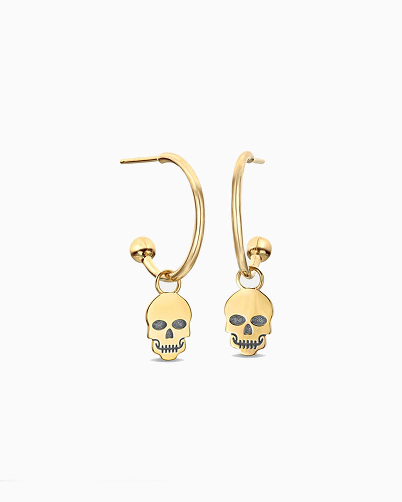 NME1015 - 14K SKULL C-HOOP EARRINGS - accessories - fine jewelry - These 14-karat solid yellow gold earrings feature skulls, designed with cubic zirconia, and an open c-hoop. Alternate View