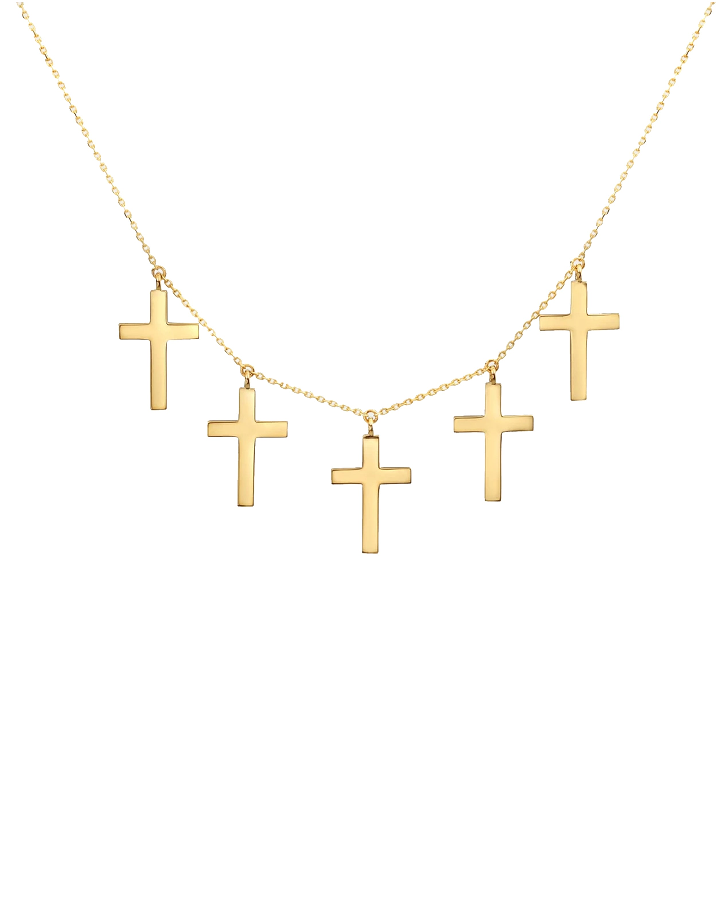 nicole miller 14k holy cross 5-charms necklace in gold