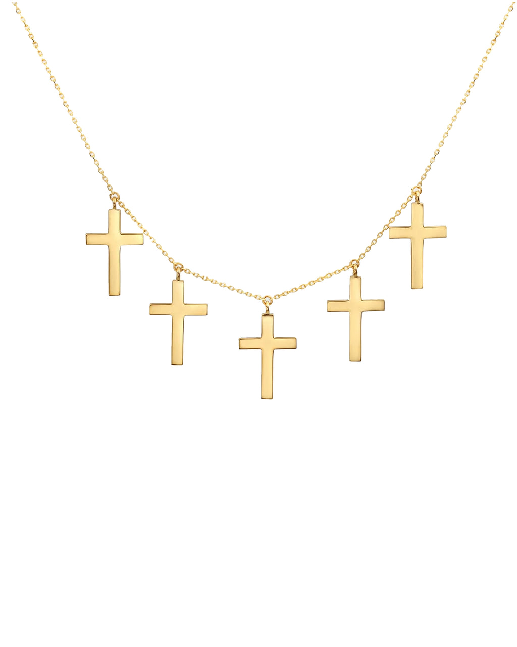 NMN1008 - 14k Holy Cross 5-charms Necklace - accessories - fine jewelry - Dangling from this 18 inch chain are 14-karat solid yellow gold crosses. The necklace is perfect as a solo piece, or works with layering. Simple clasp.