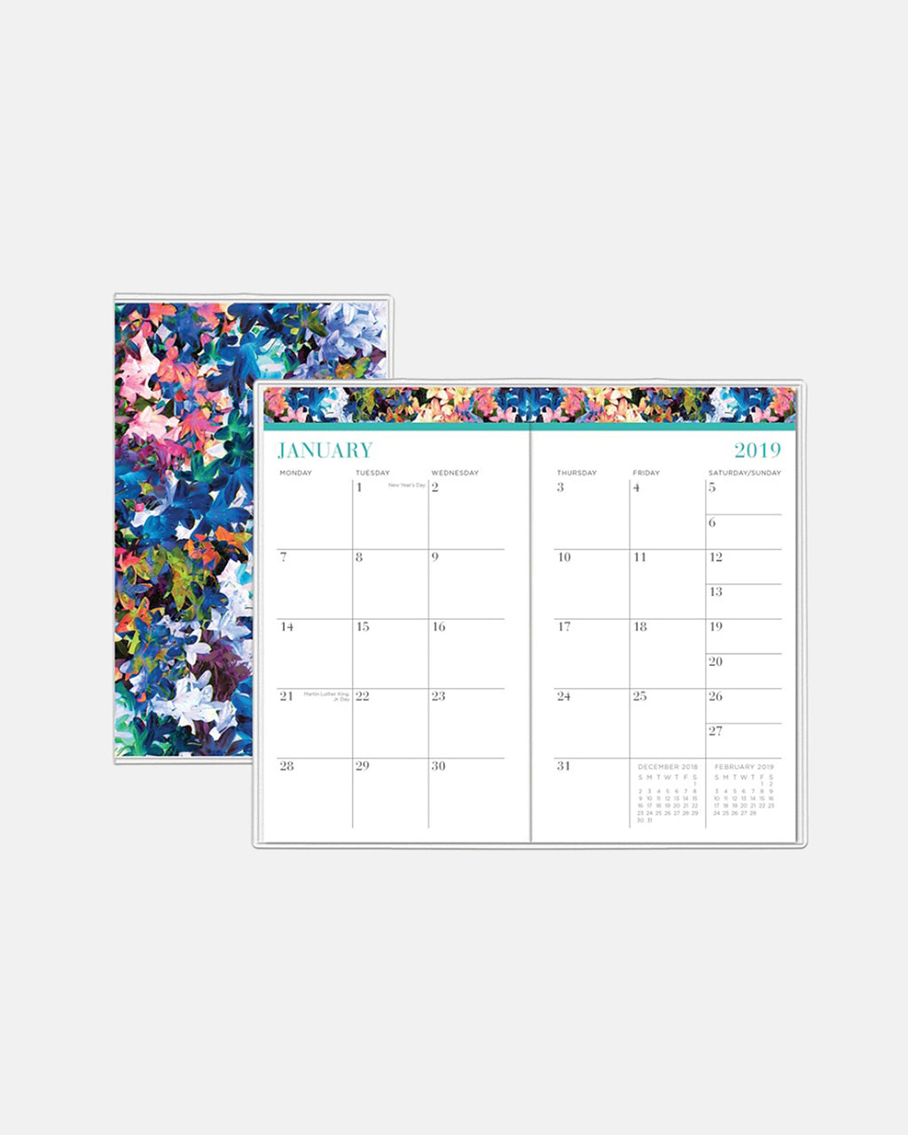 "PP10025 - Tie-Dye Flowers 2019 Weekly And Monthly Planner - 3 5/8"" X 6 1/8"" - accessories - stationary - 12 months, january to december 2 pages per month pages are wirebound with a polypropylene cover untimed appointments allow you to maintain a customized schedule"
