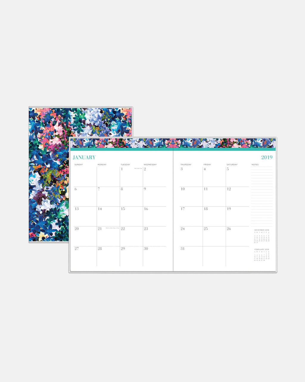 PP10027 - Tye Dye Flowers 2019 Weekly and Monthly Planner - accessories - stationary - 12 months: january to december 2 pages per month with a reference calendar Polypropylene cover with a stapled binding helps protect the pages