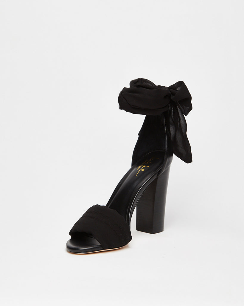 RECURVE - RECURVE SANDAL - shoes - shoes - In a lightweight fabric, this summer sandal completes any day to night look. The silky ankle tie adds a chic touch to these chunky heels.� Alternate View