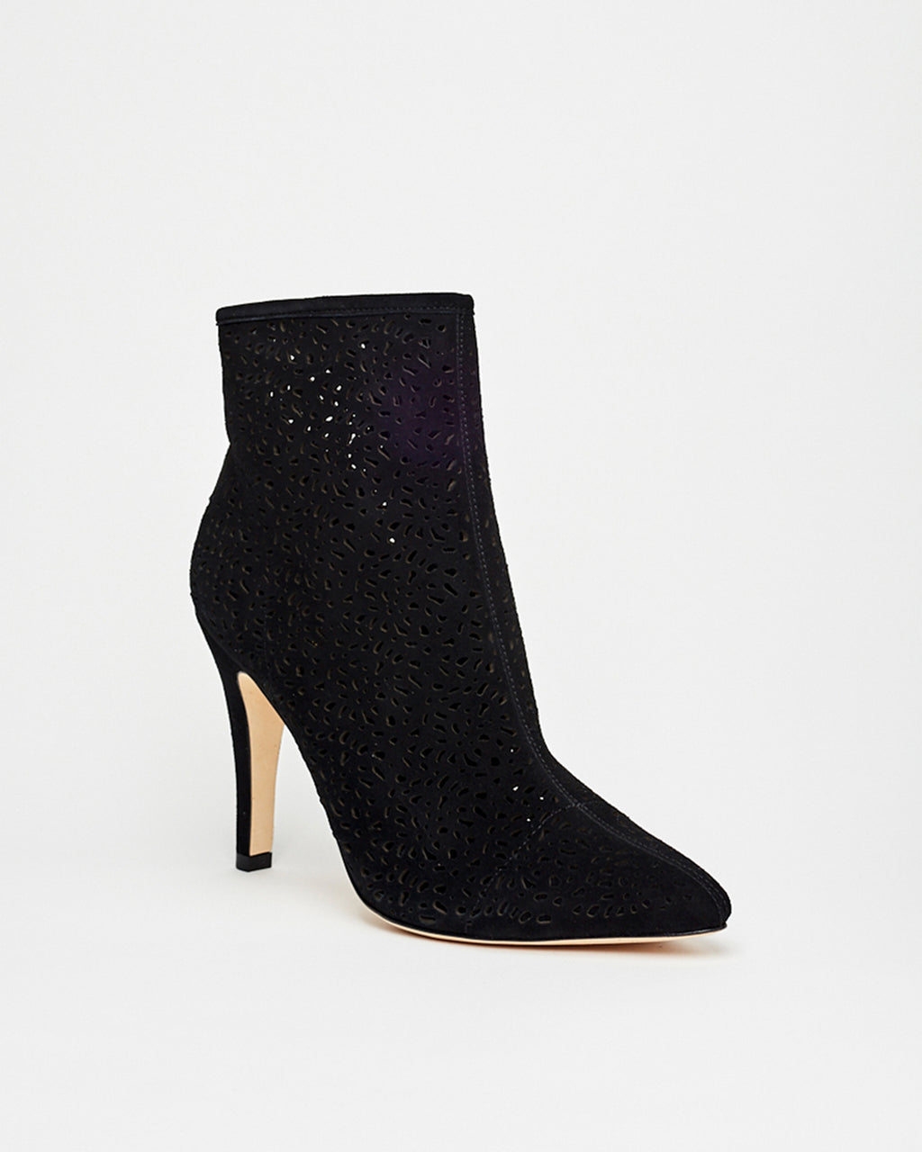RIVER - RIVERSIDE SUEDE BOOTIES - shoes - shoes - In a soft suede, these booties feature a pointed toe and laser cutouts for a trendy addition to any look. Hand crafted, these heels are completed with a leather sole and side zipper for closure.�