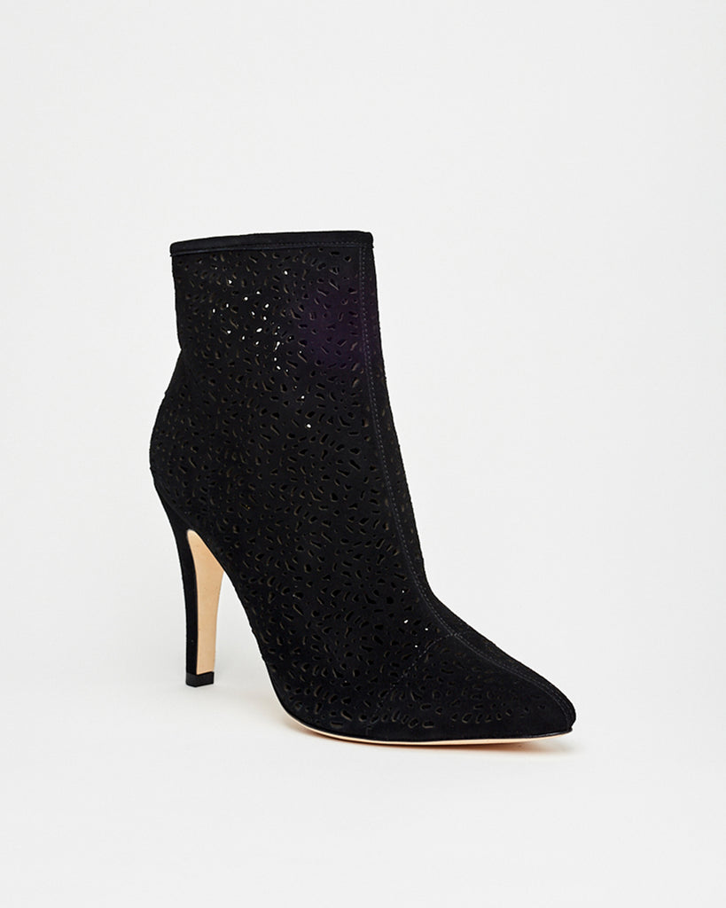 RIVER - RIVERSIDE SUEDE BOOTIES - shoes - shoes - In a soft suede, these booties feature a pointed toe and laser cutouts for a trendy addition to any look. Hand crafted, these heels are completed with a leather sole and side zipper for closure.� Alternate View