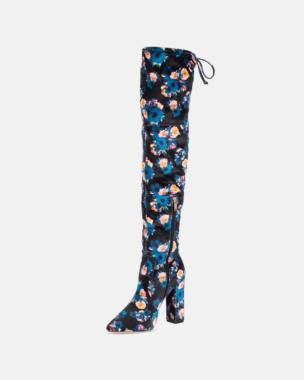 ROZLYN1 - ROZILYN VELVET POPPY PRINT OVER THE KNEE BOOT - shoes - shoes - Straight off our Fall 2018 runway, this thigh high boot is the perfect pop of color for a simple cool weather look. With a block heel and an pointed toe, these boots are made with a poppy printed velvet and side drawstring closure.