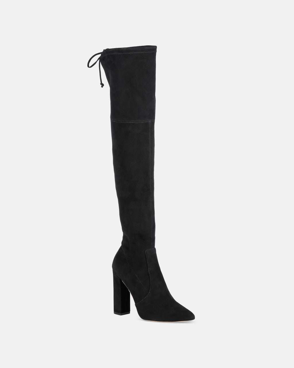 ROZLYN2 - ROZILYN BLACK SUEDE OVER THE KNEE BOOT - shoes - shoes - Straight off our Fall 2018 runway, this thigh high boot is both sexy and easy to wear. With a block heel and an pointed toe, these boots are made with a black suede and side drawstring closure.