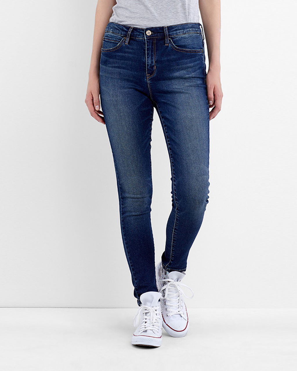 VJ0131R - SOHO HIGH RISE SKINNY - bottoms - denim - These high rise skinny jeans are finished in a faded denim wash in a classic fit. These jeans are your new go-to.