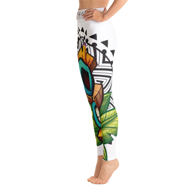 Kahoy Tiki Mask print Yoga Leggings