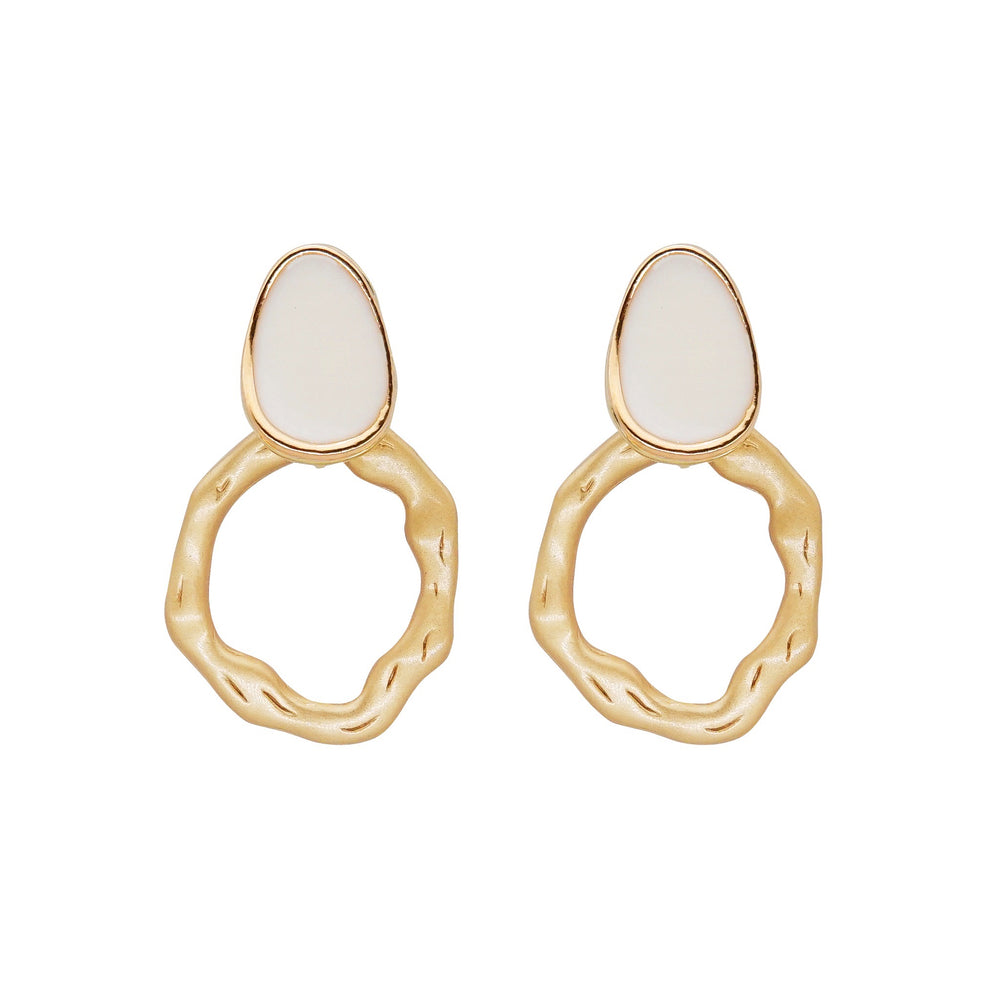 Leah Drop Earrings White