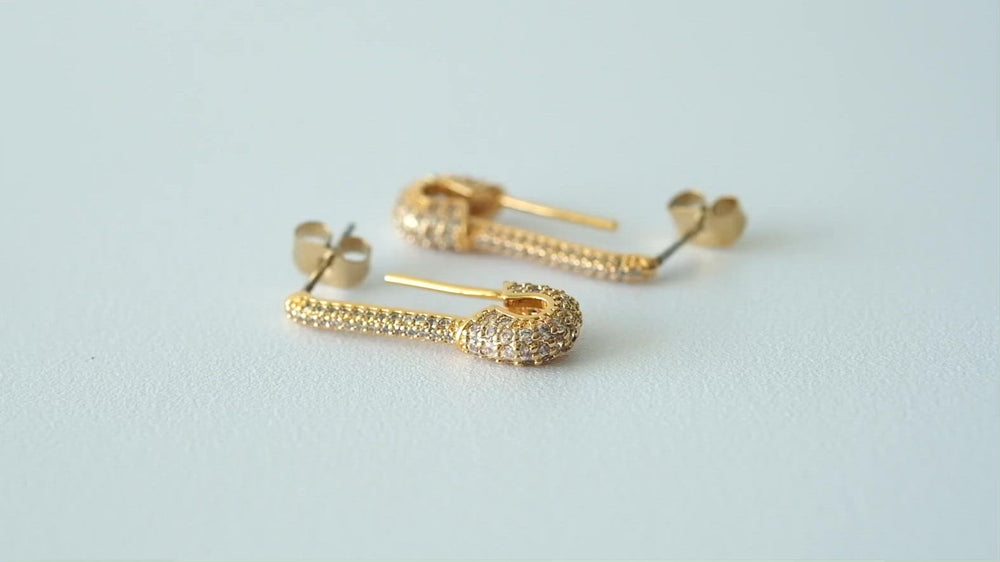 Load and play video in Gallery viewer, Helene 18K Gold-plated Earrings