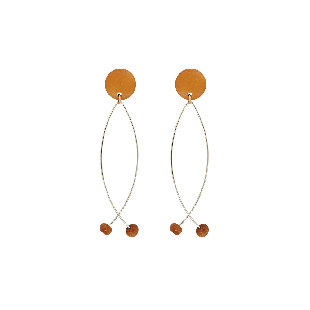 Ali Wooden Drop Earrings