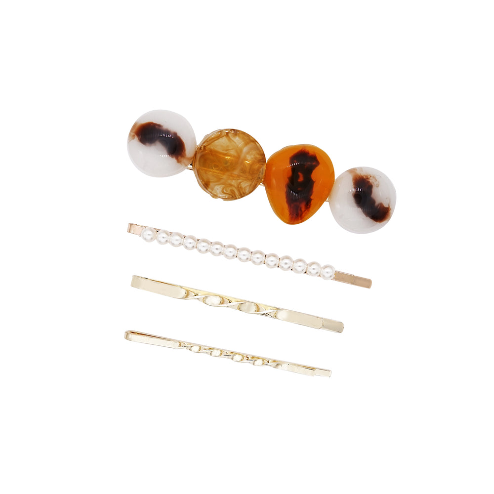Amber Hair Barrette Set