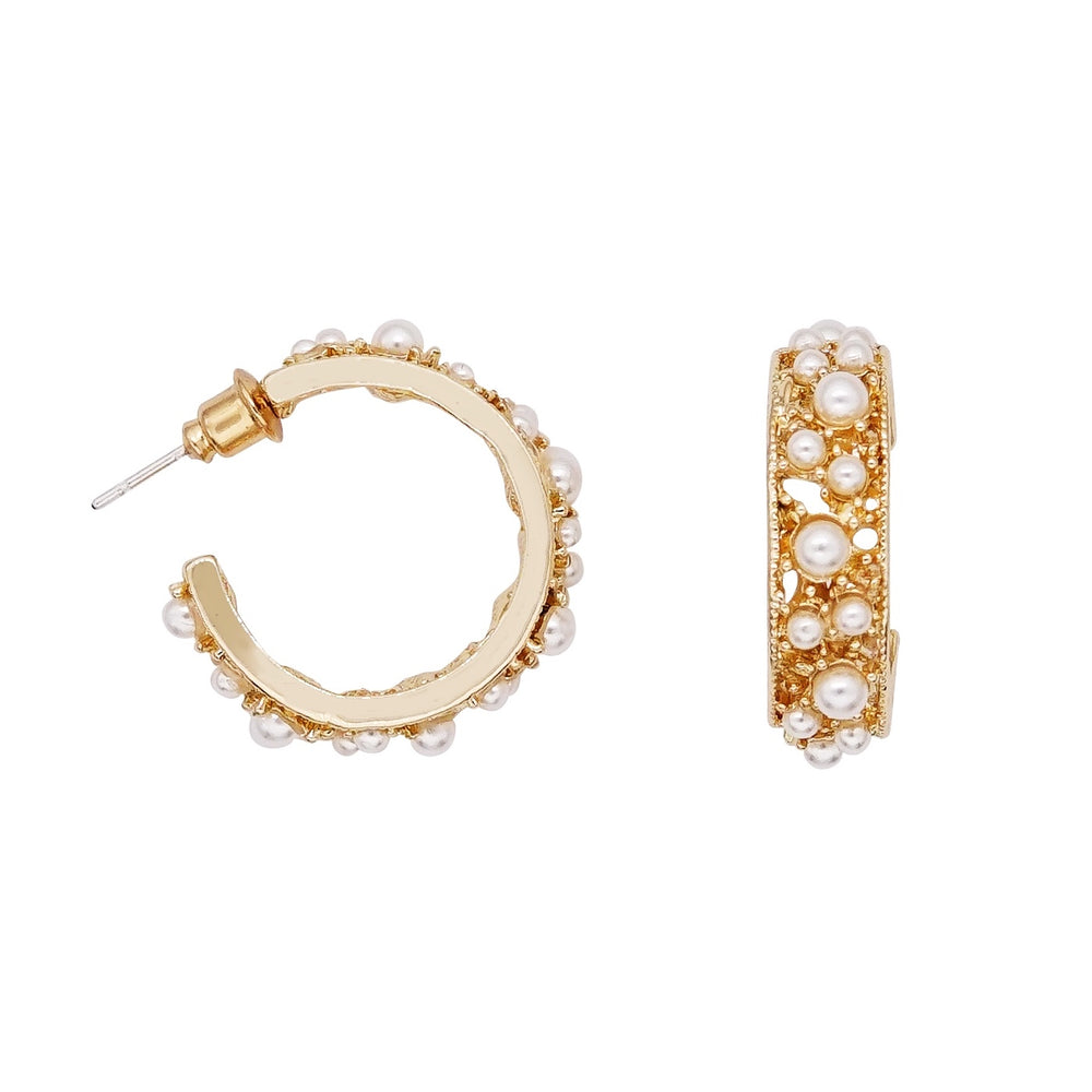 Sabina Pearl Hoop Earrings