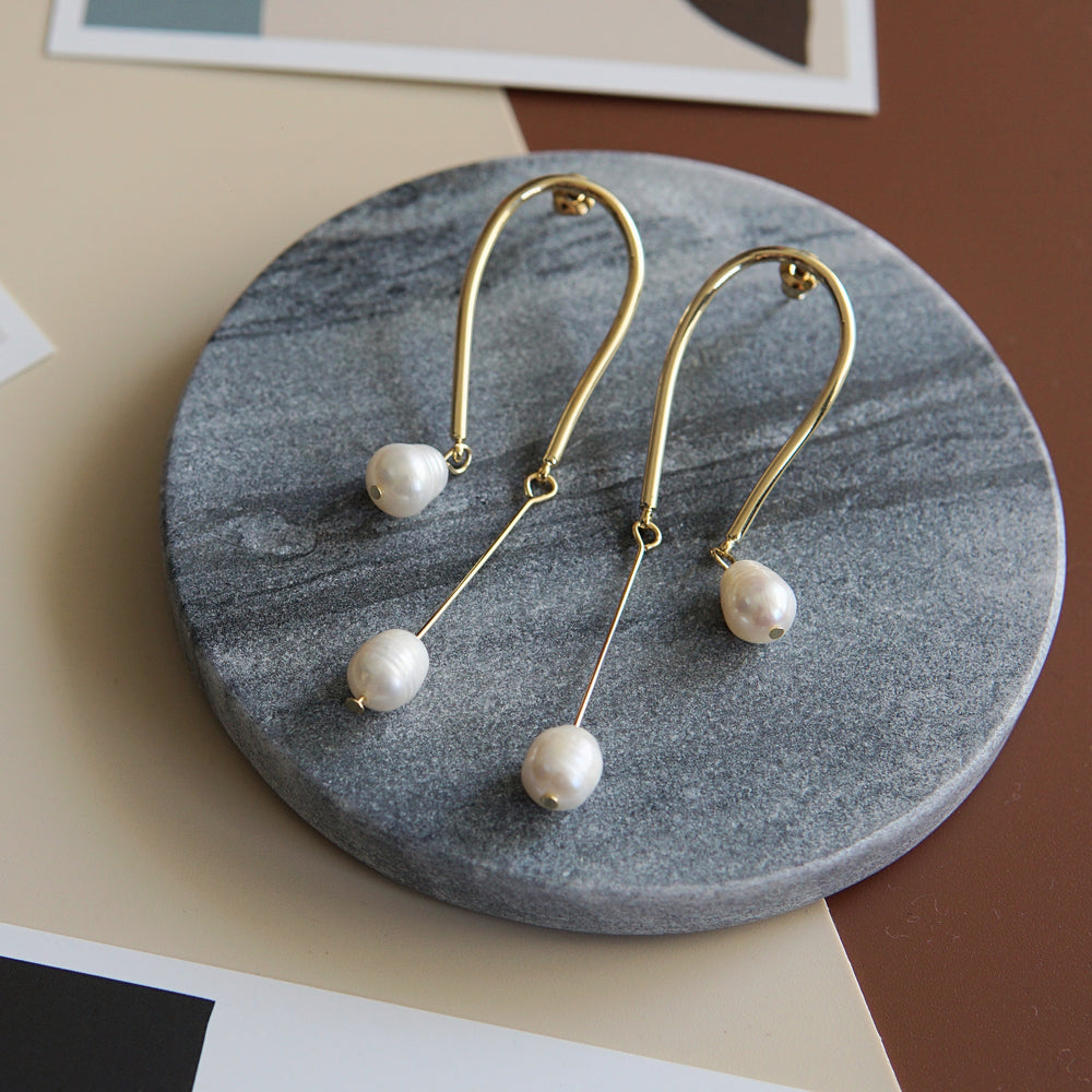 Simo Freshwater Pearl Long Drop Earrings - atto.studio