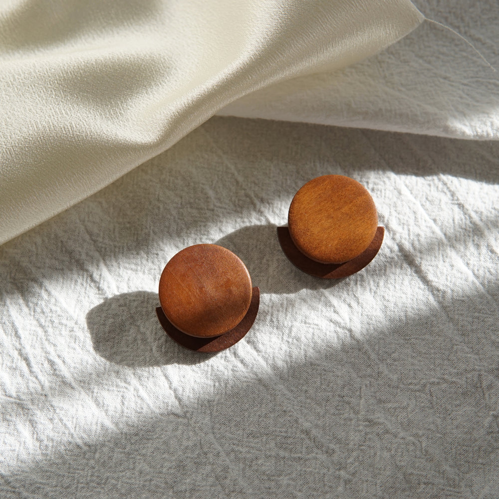 Stella Wooden Stud Earrings Brown - atto.studio
