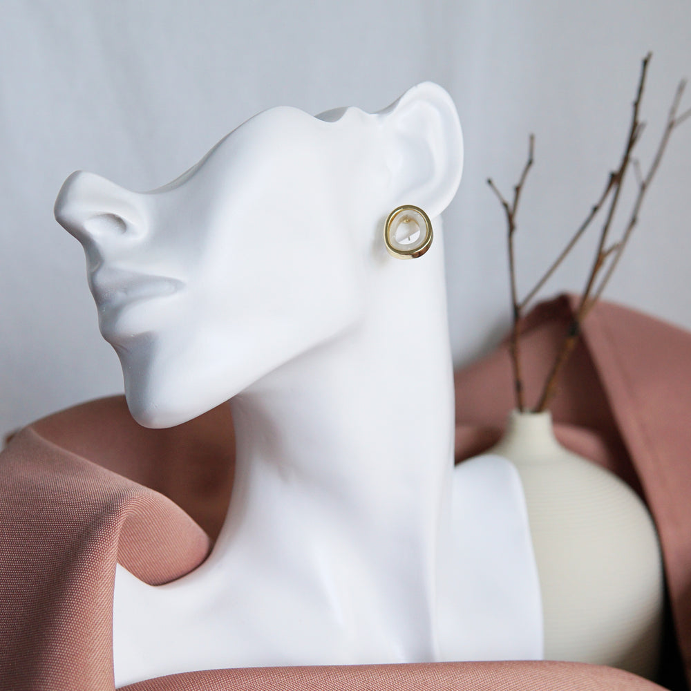 Orla Stud Earrings White - atto.studio
