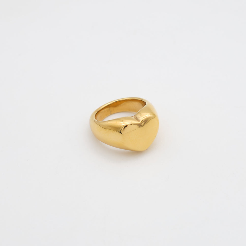 Heart Signet Ring 18K Gold-plated