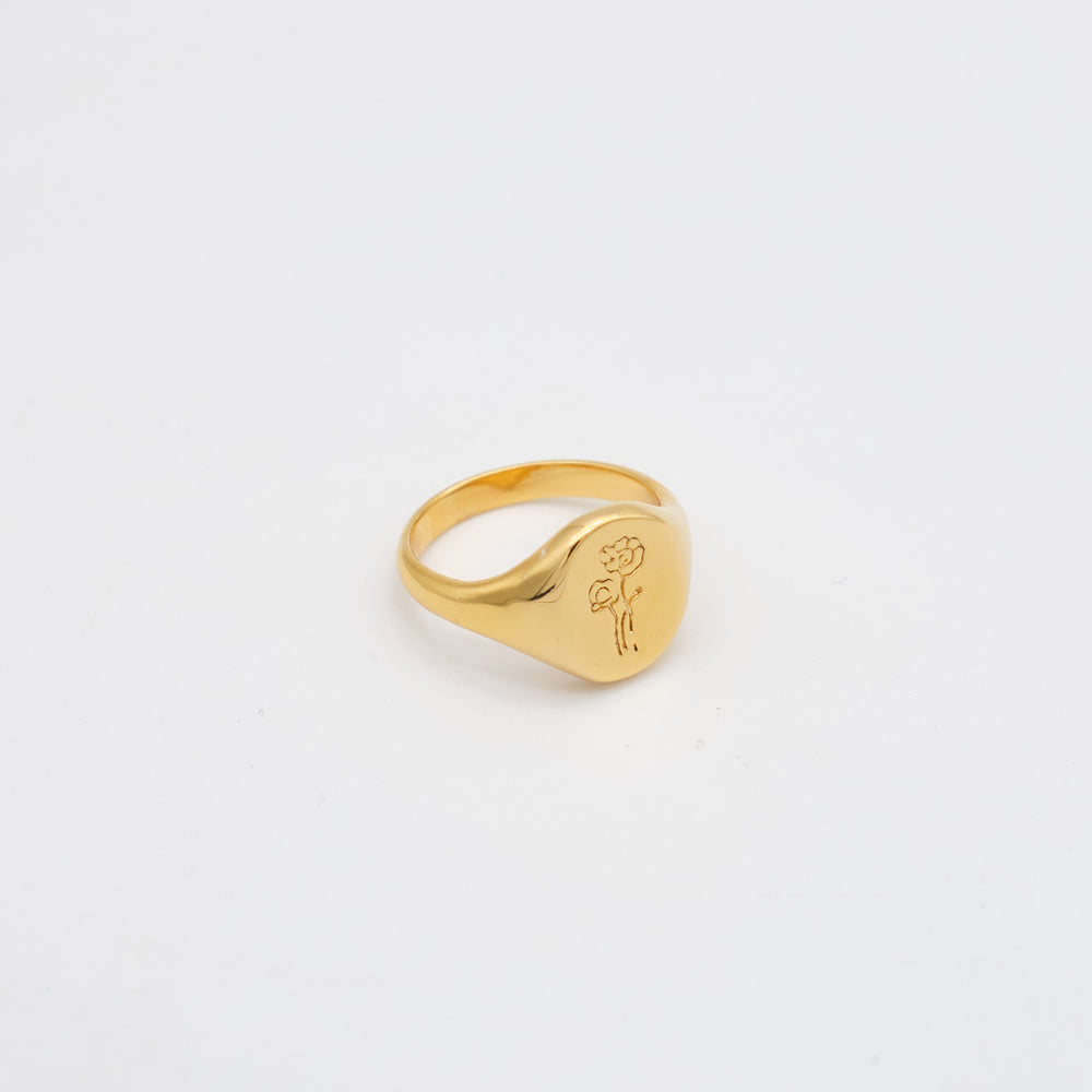 Floral Signet Ring 18K Gold-plated