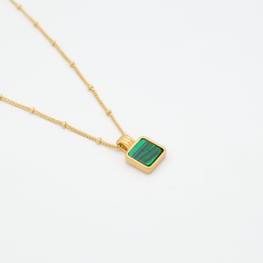 Malachite Pendant Necklace 18K Gold-plated