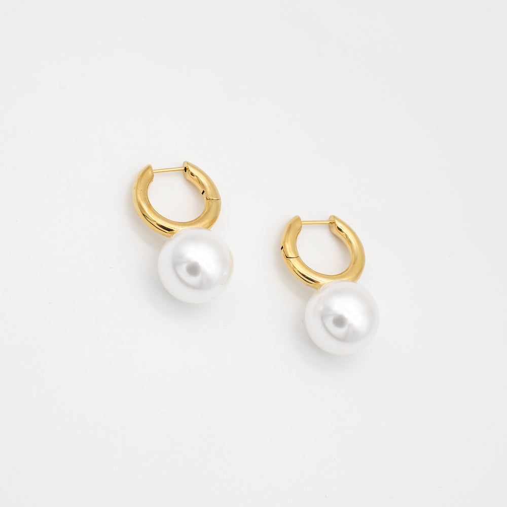 Coralia Pearl Huggies Earrings