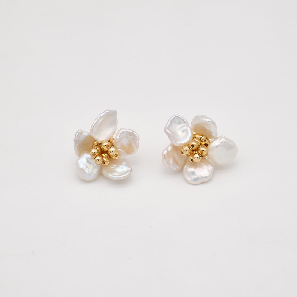 Petal Keshi Pearl Stud Earrings